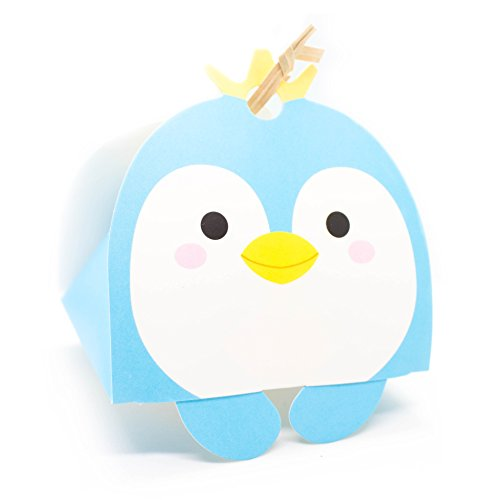 Blue Penguin Gift Boxes for Kids | Christmas | Birthday | Baby Shower | Candy - 10 Counts Penguin Party Shower