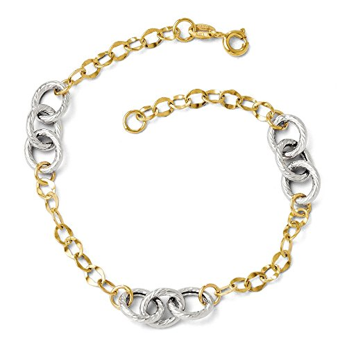 14k Two Tone Yellow Gold Textured Link Bracelet 7.5 Inch H Fine Jewelry Gifts For Women For Her