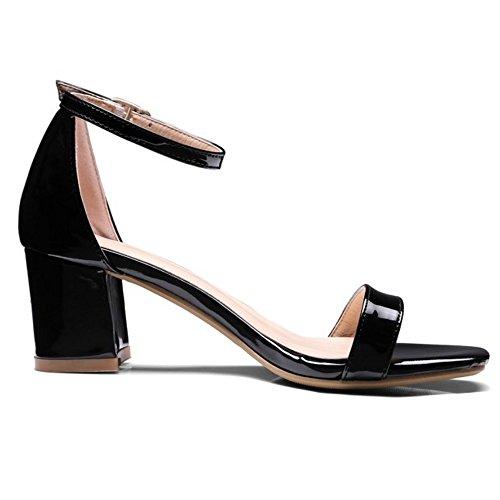 COOLCEPT Mujer Moda Correa de Tobillo Sandalias Tacon Ancho Punta Abierta Zapatos Negro