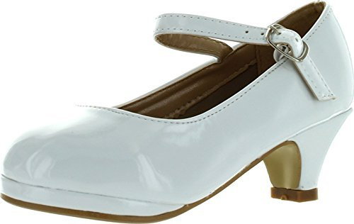 White Dress Shoes Navy (Forever Dana-63K Little Girl Kids Mid Heel Mary Jane Sandal PU Leather Dress Pumps Dancing Shoes)