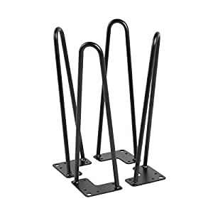 """U-MAX 16"""" Hairpin Legs 3/8"""" Thick Heavy Duty Table Legs Set for 4 (Black)"""