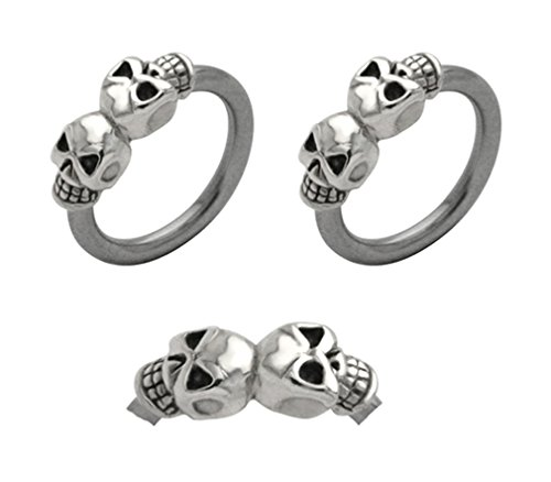 Pair of double 2 skull skeleton Captive bead Ring lip, belly, nipple, septum, earring hoop 12g ()