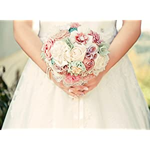 Bridal bouquet, fabric flowers wedding bouquet, pink ivory bouquet Made to order 48