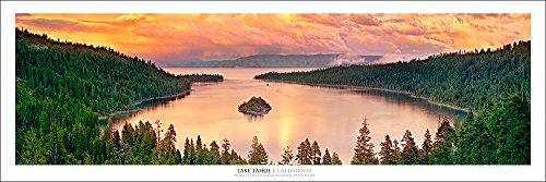 Emerald Bay Lake Tahoe At Sunset Panoramic Art Print Poster New Release