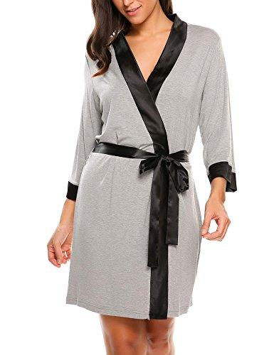 Ekouaer Women's Viscose Kimono Short Robe Sleepwear Dressing Gown,Satin-gray, Medium