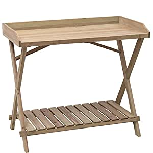Wood Worktop Potting Bench Table Workstation Capacity 110 LBS w/ Lower Shelf