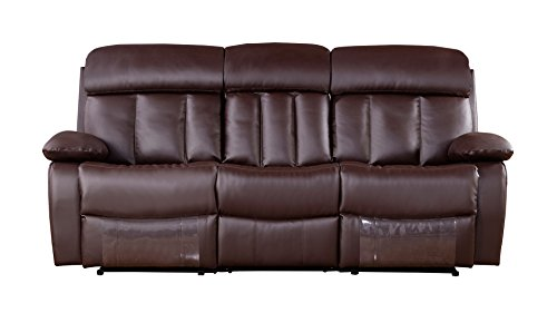 American Eagle Furniture Dunbar Collection Leather Reclining Sofa with Pillow Top Armrests, Dark Brown