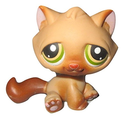 Littlest Pet Shop Kitten Cat Tan & Brown with Green Yellow Eyes #194 LOOSE/Packaged in Parts - Cats Eye Tan