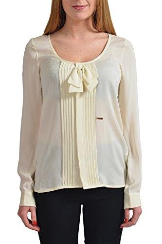 Dsquared2 Women's 100% Silk Cream Bow Decorated Long Sleeve Blouse US S IT 40 (Silk Cream Blazer)