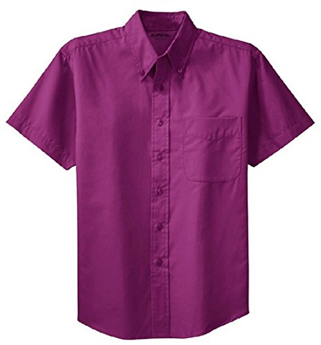(Clothe Co. Mens Short Sleeve Wrinkle Resistant Easy Care Button Up Shirt, Deep Berry, L)