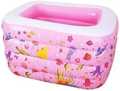 AJH Piscina Inflable-Piscina para bebés Hogar para bebés Aislamiento Plegable Inflable Piscina Familiar Niños Engrosamiento Cubo de natación para bebés Piscina Inflable (Color: Rosa)