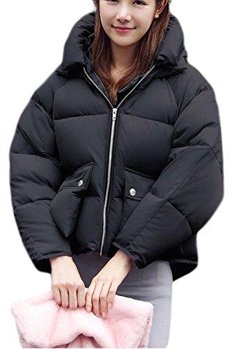 Zip Hoodie Mujer Acolchado La Corta Grueso negro Outwear Parkas Casual Invierno Caliente qgRwxtEnU