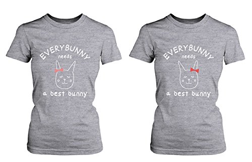 d12f7f875b3477 LOVE TO LOVE 365 Printing Cute Best Friend T Shirts - Everybunny Needs a  Best Bunny BFF Matching Shirts  Amazon.co.uk  Clothing