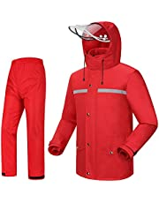 iCreek Rain Suit Jacket & Trouser Suit Raincoat Unisex Outdoor Waterproof Anti-Storm (L-USA, Red)