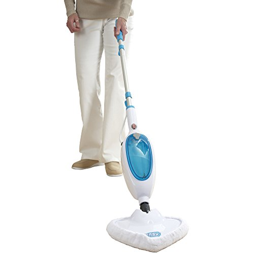 -[ Steam Cleaner Mop, Upright Handheld 1300W by Easy Steam (White/Blue)  ]-