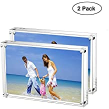 AMEITECH Acrylic Picture Frames, 4x6'' Clear Double Sided Block Set, Desktop Frameless Magnetic Photo Frame (2 Pack)