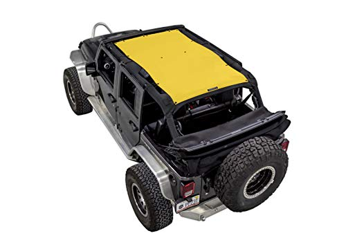 SPIDERWEBSHADE Jeep Wrangler Mesh Shade Top Sunshade UV Protection Accessory USA Made with 5 Year Warranty for Your JKU 4-Door (2007-2017) in Yellow ()