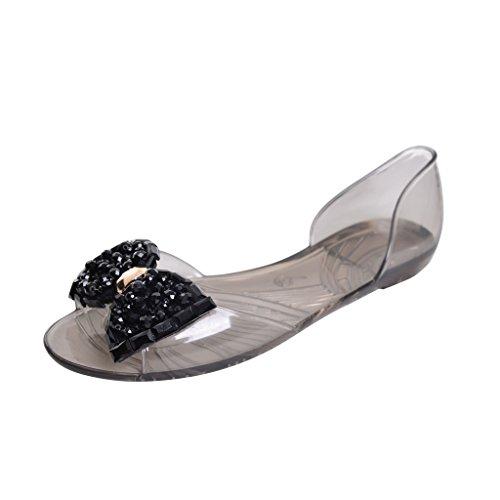 Dear Time Summer Women Jelly Sandal Shoes Slip On Bowtie Slippers Black US 8.5