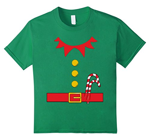 Kids Santa Elf Costume Holiday Christmas Shirt for Kids & Adults 6 Kelly (No Costume No Candy Song)