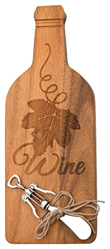 - Boston International Wood Bottle Shaped Cheese Board with Spreader, 12