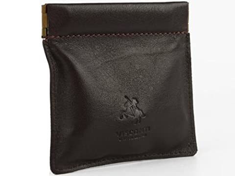 Visconti Mens Genuine Quality Small Italian Style Leather Coin Purse Pouch / Change Wallet or Key Holder (Brown)