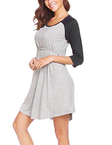 Ekouaer Women's 3/4 Raglan Sleeve Maternity Dress Nursing/Breastfeeding Nightgown Dress(Black S)
