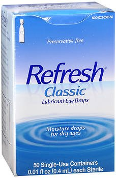 Refresh Classic Lubricant Eye Drops Single-Use Containers, 50 - 0.4 ml, Pack of 5