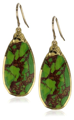Devon Leigh Green Turquoise in 24k Foil Earrings , 2""
