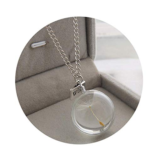 USEXMTY S-Tshirt Fashion Necklaces Wish Real Dandelion Crystal Necklace Glass Round Pendants Necklace Silver Chain Choker Flexible