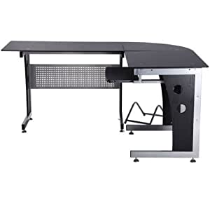 HOMCOM Mesa Esquinera PC Escritorio Ordenador Oficina Dormitorio Hogar Escuela Metal Madera Vidrio de Seguridad