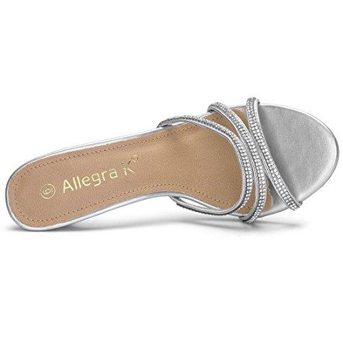 K Heel Women's Mules Rhinestone Strappy Silver Allegra dqxwq