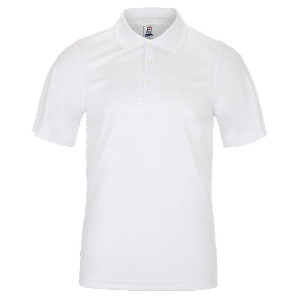 Fila Men`s Fundamental Embossed Stripe Tennis Polo (Small White)