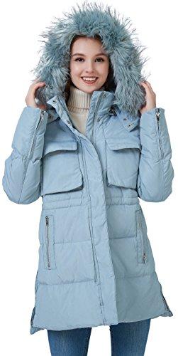 fashciaga Women's Faux Fur Hood Winter Quilted Coat Puffer Lightweight Down Parka Jacket Medium - Winter Petite Coats Womens
