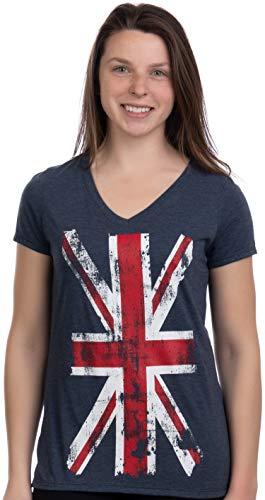 Union Jack Flag | UK United Kingdom Great Britain British Women Girl T-Shirt Top-(Vneck,L) Vintage Navy