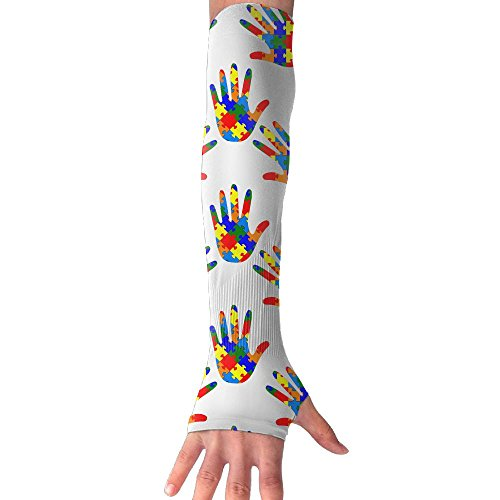 NUNOFOG Autism Awareness Unisex Summer Arm Cover Sleeves Long Fingerless Sun-proof Anti-UV Long Gloves For Outdoor