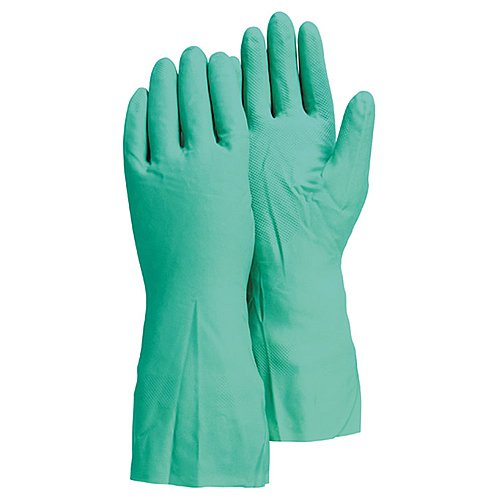 Majestic Glove 3245/S Industrial Glove, Nitrile, Flock Lined, 15 Mil, Size Small, Green (Pack of 12)