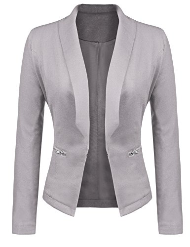 Gfones Women's Casual Open Front Work Office Jacket Ruffles 3/4 Sleeves Blazer (XL, Light Grey1)