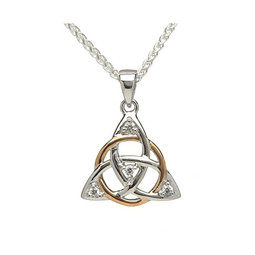 Gold Trinity Knot Pendant - Boru Trinity Knot Necklace Small Celtic Irish Sterling Silver & Rose Gold CZ Pendant Made in Ireland