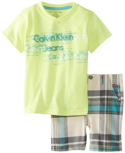 Calvin Klein Baby-Boys Infant Tee with Plaided Short