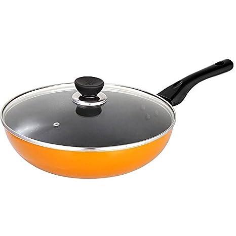 Sartén/utensilios de cocina/ollas o sartenes de hollín/placa de inducción no se oxide cocina utensilios de cocina antiadherentes, 30cm,amarillo: Amazon.es: ...