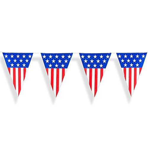Patriotic Stars Backdrop (24 Foot Long American USA Flag Pattern Plastic Pennant Curtain Banner for Decorations, Birthdays, Weather Resistant, Event Supplies, Festivals, Children & Adults)