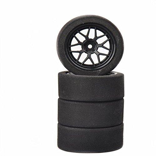 (Ruixunte 4PCS Unique Foam Tires Wheel Rims Set of for RC 1:10 Model On-Road Racing Car)