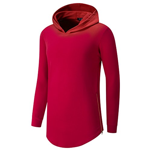 YTD Mens Hipster Hip Hop Classic Pullover Long Sleeve Hoodie Sweatshirts Jacket (US XL, Red)