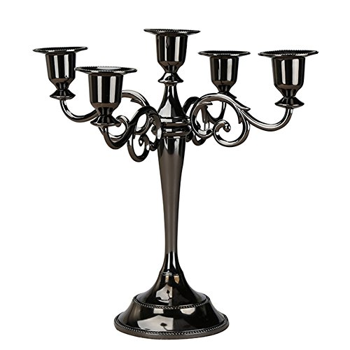KINGFOM European Style Metal Pillar Candelabra Wedding Gift Centerpiece Chic Decor Candle Holders Black (5 candle holders) -