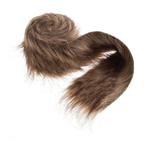 Luxury Faux Fur Trim: 2m x 80mm: Brown by Groves