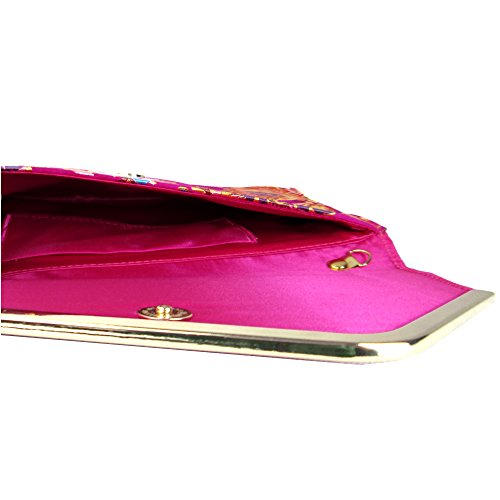 Floral Embroidered Jacquard Fuchsia Clutch Xardi Flat Satin Bag London FqExBw7SnZ