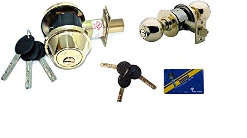 (MUL-T-Lock Single Cylinder Deadbolt with S. Parker Knob Front Door Entry Lockset Combination Set Keyed Alike, Adjustable Backset,3 Keys with Card (Polish)