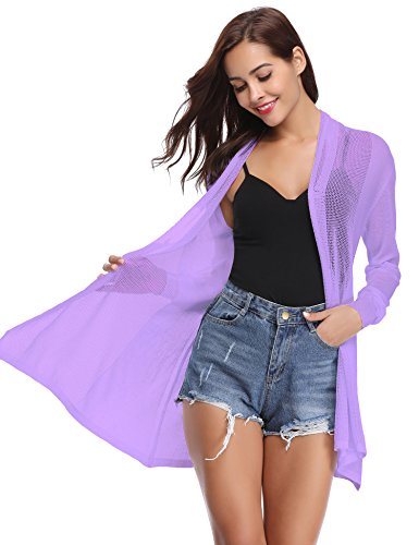 - Abollria Womens Summer Lightweight Cardigans Open Front Draped Kimono Tops(Purple,XXL)