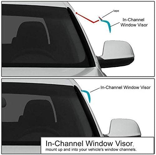 OEMM Set Of 2 Wind Deflectors IN-CHANNEL Type Compatible with FORD TRANSIT CUSTOM VAN MINIBUS 2012 2013 2014 2015 2016 2017 2018 2019 2020 Side Visors Window Deflectors