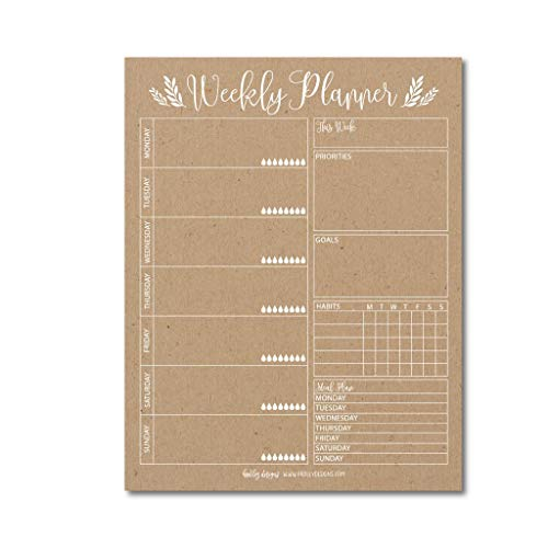 Rustic Undated Weekly Family Calendar Planner Pad, Mom Monthly to Do List Desk Paper Notepad, Week Day Weekend Organizer, Personal Goal Habit Tracker, Kids School Work Productivity, 50 Tear Off Pages